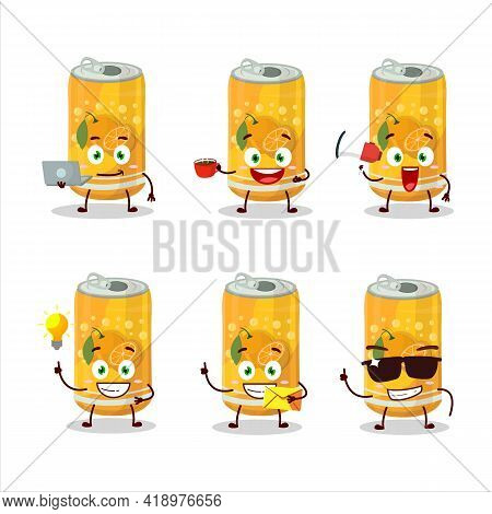 Orange Soda Can Cartoon Character With Various Types Of Business Emoticons