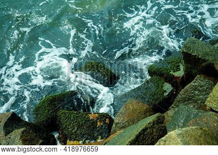 Waves Crashing On The Rocks, Waves Crashing On The Rocks Top View, Beautiful Nature Photography