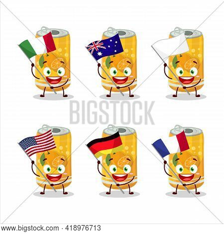 Orange Soda Can Cartoon Character Bring The Flags Of Various Countries