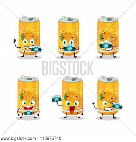 Photographer Profession Emoticon With Orange Soda Can Cartoon Character