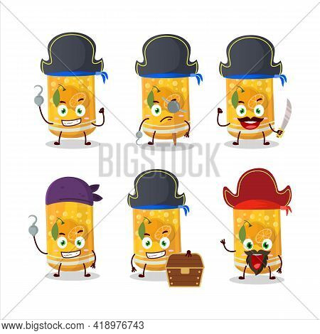 Cartoon Character Of Orange Soda Can With Various Pirates Emoticons