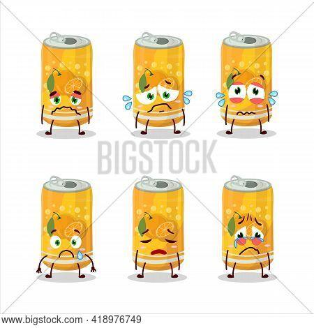Orange Soda Can Cartoon Character With Sad Expression