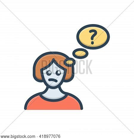 Color Illustration Icon For Thinking Brooding Musing Consideration Opinion Concept