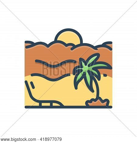 Color Illustration Icon For Vacation  Holiday Leave Leisure  Travel Relaxing Beach