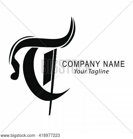 Simple Vector Hand Draw Sketch Logo Script T, For Classic Corporate, At White Background