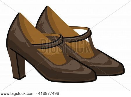 Vintage Female Shoes On High Heel With Straps