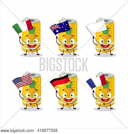 Pineapple Soda Can Cartoon Character Bring The Flags Of Various Countries