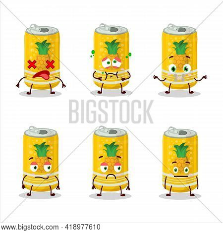 Pineapple Soda Can Cartoon Character With Nope Expression