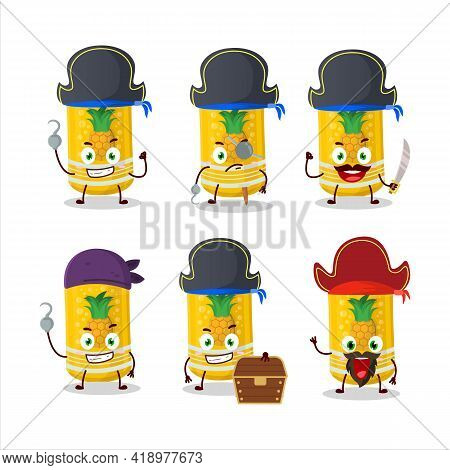 Cartoon Character Of Pineapple Soda Can With Various Pirates Emoticons