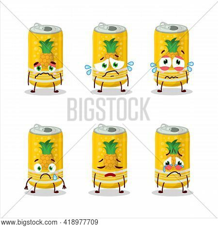 Pineapple Soda Can Cartoon Character With Sad Expression