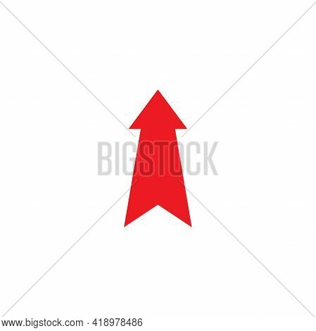 Red Arrow Up Icon. Forward, Growth Sign. Isolated On White. Upload Icon. Upgrade Sign. Speed Up, Scr