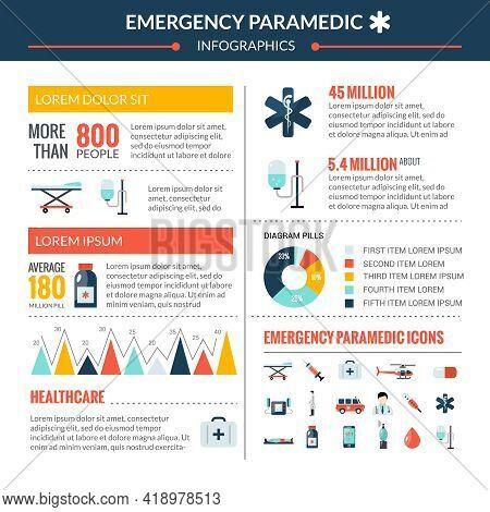 Emergency Paramedic Infographic Set With Healthcare Symbols Flat Vector Illustration