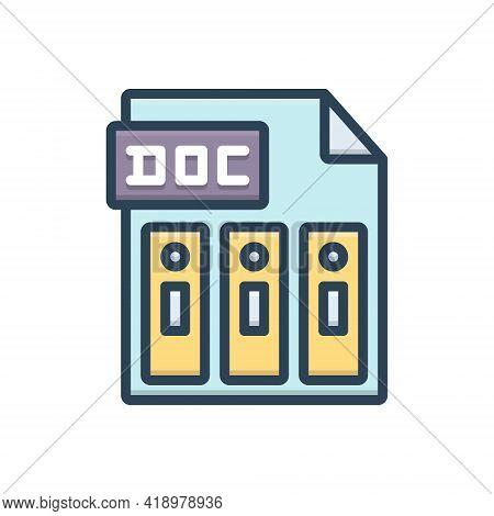 Color Illustration Icon For Doc Reports Document File Folder Management