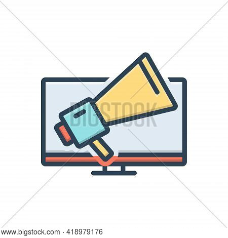 Color Illustration Icon For Infomercial  Advertising Annoying Marketing Megaphone