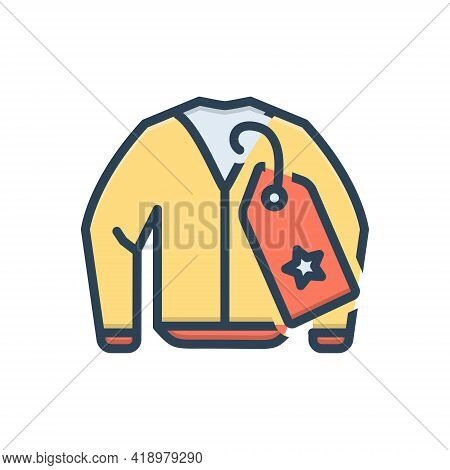 Color Illustration Icon For Brandname Brand Name Tag Cloth Jacket Weft