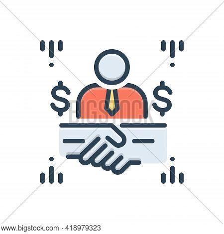 Color Illustration Icon For Brokerage Broking Mediation Handshake Contractor