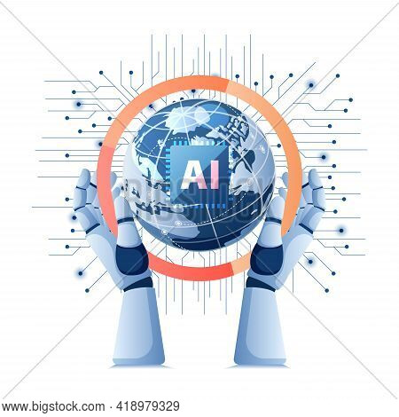 Robot Hand Holding World With Artificial Intelligence Ai Chip On Electronic Circuit Board. Artificia