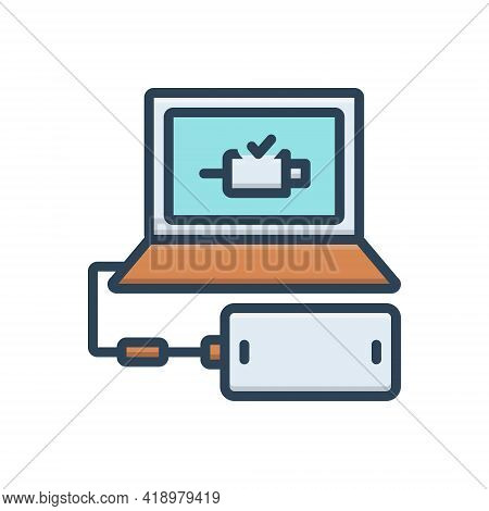 Color Illustration Icon For Connect Add Link Attach Concatenate