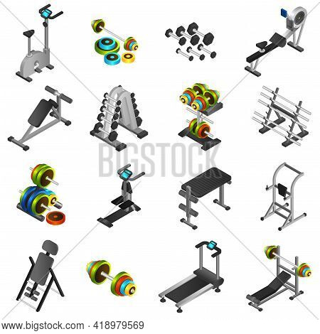 Realistic 3d Icons Set Of Different Fitness Equipments And Training Apparatus Isolated Vector Illust