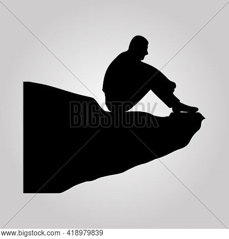 Businessman Sitting Top Cliff Rock Mountain Concept Flat Vector Illustration
