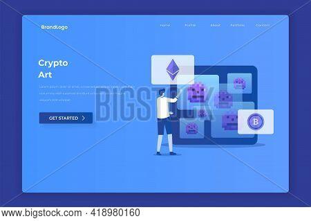 Crypto Art Illustration Landing Page. Illustration For Websites, Landing Pages, Mobile Applications,