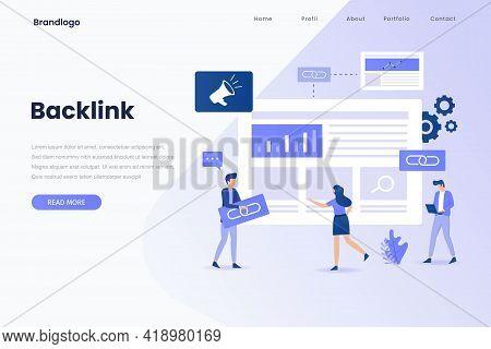 Backlink Illustration Landing Page. Illustration For Websites, Landing Pages, Mobile Applications, P