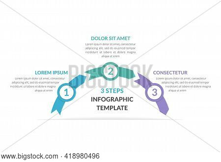 Infographic Template With Arrows With 3 Steps, Workflow, Process Chart, Vector Eps10 Illustration