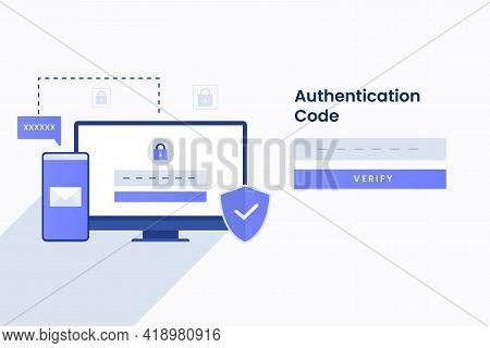Authentication Code Illustration For Site. Illustration For Websites, Landing Pages, Mobile Applicat