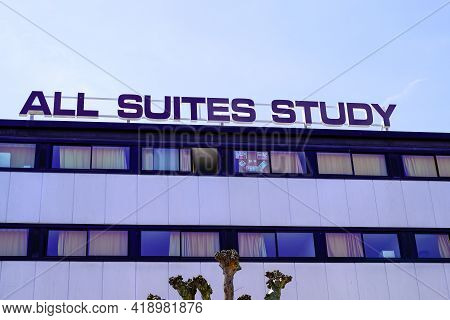 Bordeaux , Aquitaine France - 04 22 2021 : All Suites Study Hotel Brand Sign Logo In Street Building
