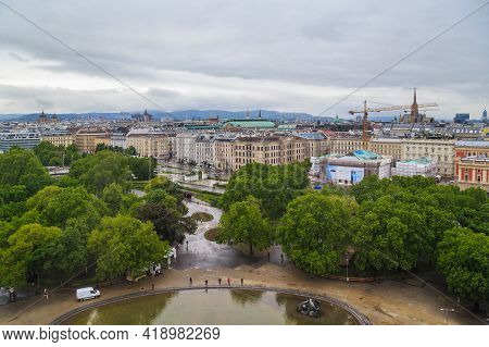 Vienna, Austria - May 16, 2019: This Is A View Of The Ressel Park And The Vienna Panorama From The H