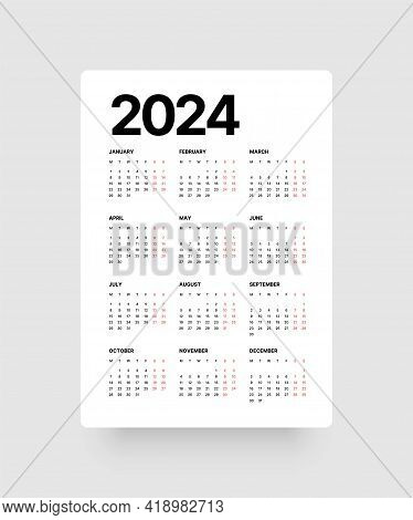 Calendar For 2024 Year. Week Starts On Monday.
