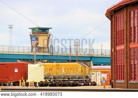 April 26, 2021 In Cheyenne, Wy:  Union Pacific Railroad Yard Including A Communication Tower And His