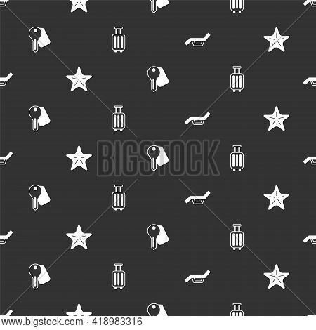 Set Sunbed And Umbrella, Starfish, Hotel Door Lock Key And Suitcase On Seamless Pattern. Vector