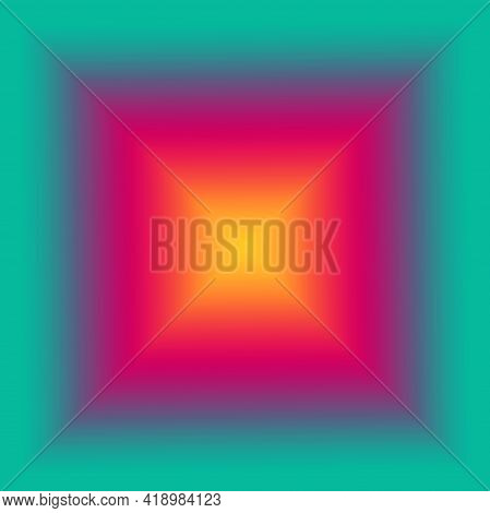 Illustration Of Gradient Magenta And Yellow Pyramid With Blue Green Square Frame