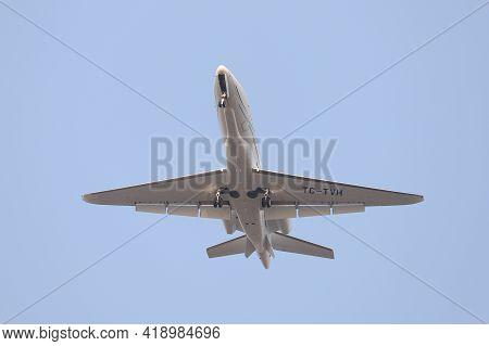 Istanbul, Turkey - February 23, 2021: Tav Airport Airlines Cessna 680a Citation Latitude (cn 680a001