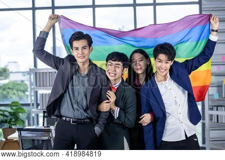 Successful Company With Happy Workers Group Of Asian Business People With Diverse Genders (lgbt) Cel