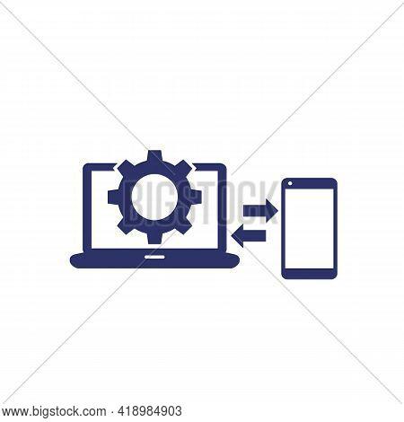 Data Synchronization, Laptop And Smart Phone Icon