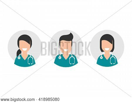 Man And Woman Doctor With Stethoscope In Grey Circle. User Avatar Set Isolated On White. Medical Int
