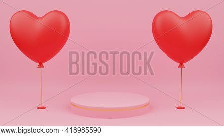 Valentine's Day Concept. Circle Podium Pink Pastel Color With Gold Edge, Red Heart Balloon. 3D Rende