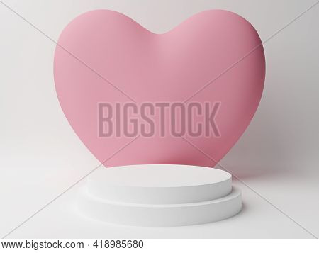 White Circle Podium With Pink Pastel Heart With White Background. Valentine's Day Concept. Mock-up S