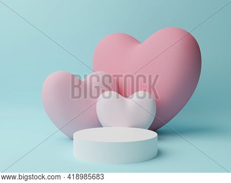 White Circle Podium With Pink, White Heart With Cyan Background. Valentine's Day Concept. Mock-up Sh