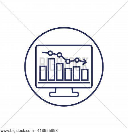 Recession Or Economic Decline Line Icon, Vector