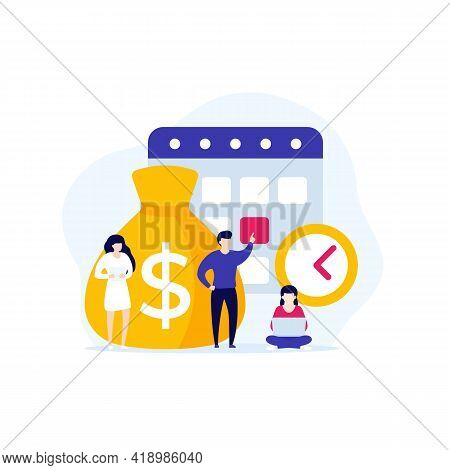 Payment Calendar, Payday Vector Art With People
