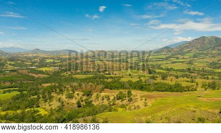 Farmland With Growing Crops Of Rice, Vegetables And Sugar Cane In A Mountain Valley. Mindanao, Phili