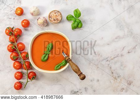 Vegetarian Recipe, Healthy Lunch. Tomato Cream Soup With Garlic And Basil. Vegetarian Recipe, Health