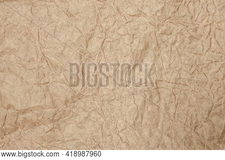 Brown Old Paper Rough And Crumpled, Wrinkled, Aged, Ancient For Texture Background