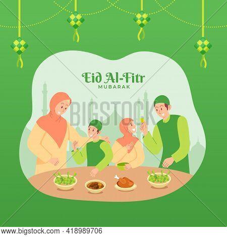 Happy Eid Mubarak Greeting Card. Muslim Family Having Dinner Together During Eid Mubarak In Dining R