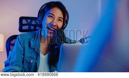 Happy Asia Girl Host Record Podcast Use Microphone Wear Headphone With Laptop Interview Guest Conver