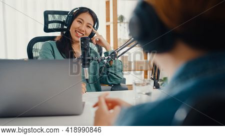 Asia Girl Radio Host Record Podcast Use Microphone Wear Headphone Interview Celebrity Guest Content