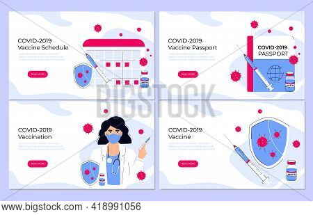 Covid-19 Vaccination. Vaccine Schedule. Coronavirus Immune Pass. Immunization Plan. Doctor Holding P
